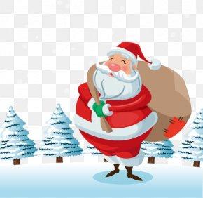 Send A Gift Santa Claus Vector Image - Santa Claus Christmas Gift Euclidean Vector PNG