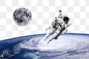 Astronauts In Space - Astronaut Moon Outer Space Sky PNG