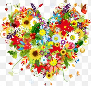 Colour Explosion - Flower Heart Drawing Clip Art PNG