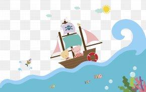 The Pirate Ship Swims In The Sea - Sea Piracy Euclidean Vector Navio Pirata PNG