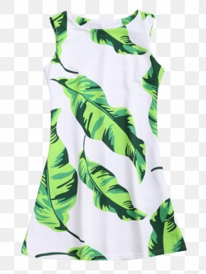 Watercolor Tropical Leaf - Sleeve Maxi Dress Miniskirt PNG