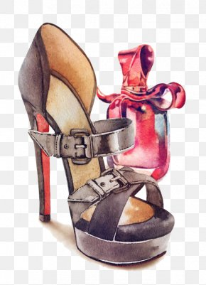 Hand-painted Watercolor Ms. Sandals Perfume - Slipper High-heeled Footwear Shoe Sandal PNG