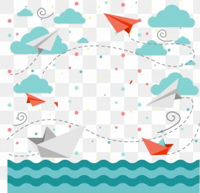 Vector Airplane Sky Clouds Sea - Children's Day Bal Diwas Wish Happiness PNG