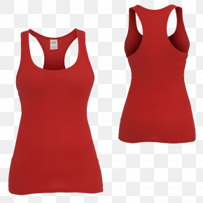 Overalls - T-shirt Sleeveless Shirt Red Clothing Top PNG