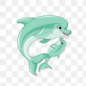 Dolphin Mother And Son - Spinner Dolphin Mother Infant Clip Art PNG