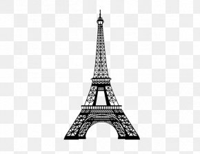 Eiffel Tower - Eiffel Tower Cityscape Wall Decal Skyline Drawing PNG
