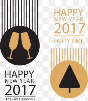 Black Gold Stripes New Year Banners - Gold Banner Icon PNG