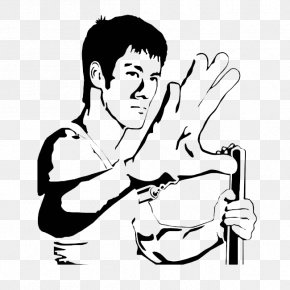 Bruce Lee Black And White Cartoon Style - Bruce Lee Sticker Wall Decal Stencil PNG