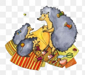 Hedgehog Mom Make Clothes - Hedgehog Illustrator Painter Book Illustration PNG
