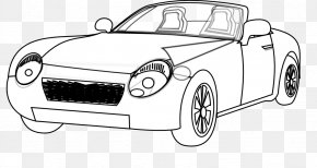 Car Line Art - Sports Car Black And White Drawing Clip Art PNG