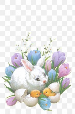 Flowers Rabbit - Easter Bunny Happiness Happy Easter Wallpaper PNG