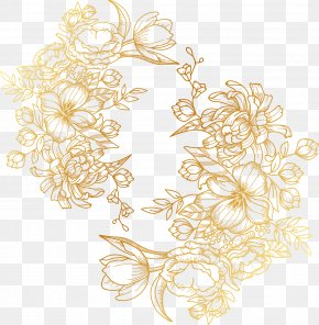 Vector Painted Golden Flowers PNG