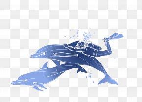 Vector Blue Ocean Dolphin Diver - Scuba Diving Snorkeling Illustration PNG