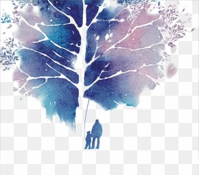 Watercolor Tree - Watercolor Painting Drawing Negative Space PNG