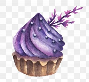 Purple Cake - Macaron Macaroon Watercolor Painting Dessert Cake PNG