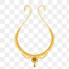 Indian Jewellery Models - Necklace Earring Jewellery Colored Gold PNG