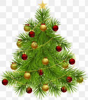 Transparent Christmas Tree With Ornaments - Christmas Tree New Year Tree Clip Art PNG