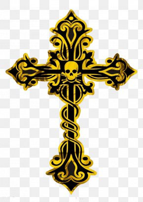 Golden Crow Heart - Cross Chrome Hearts Bracelet PNG