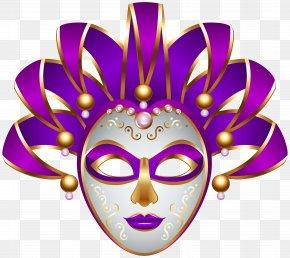 Purple Carnival Mask Transparent Clip Art Image - Mask Carnival Mardi Gras Clip Art PNG