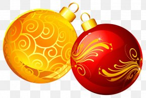 Christmas Yellow Red Ornaments Clipart - Christmas Ornament Santa Claus Christmas Tree PNG