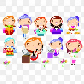 Cartoon Characters - Cartoon Child Gift Illustration PNG