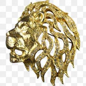 Lion - Lion Brooch Gold Jewellery Imitation Gemstones & Rhinestones PNG
