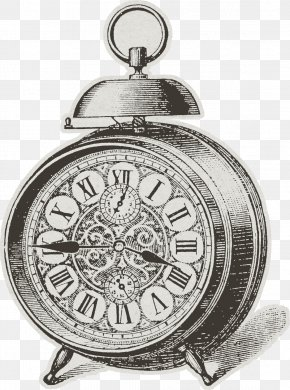 Painted Black Alarm Clock - Alarm Clock Table Black And White PNG