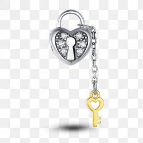 Heart Gold - Heart Lock Charms & Pendants Silver Key PNG