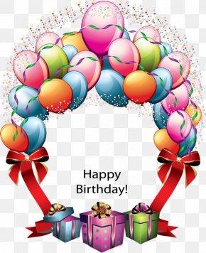 Happy Birthday - Birthday Cake Balloon Wish Greeting Card PNG