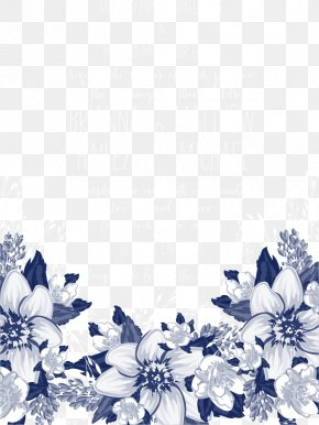 Vector Blue Flowers Invitations - Blue Petal Black And White Pattern PNG