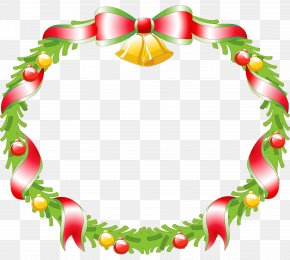 Christmas - Wreath Christmas Decoration Santa Claus Clip Art PNG