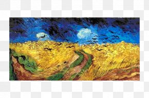 Painting - Wheatfield With Crows The Starry Night Self-Portrait With Bandaged Ear And Pipe Oil Painting PNG