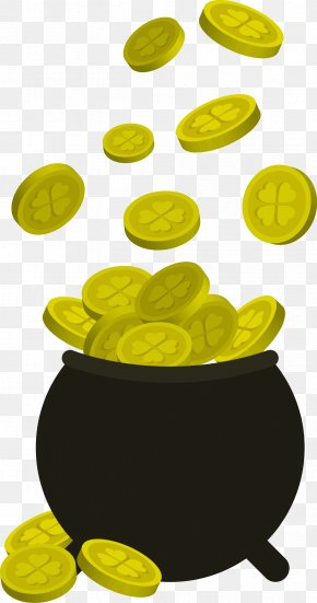 Vector Flat Gold Coin Bottle Picture - Gold Coin PNG