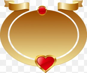 Gold Oval Frame Red Heart-shaped Ribbon - Heart Icon PNG