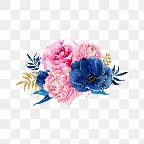 Flowers - Pink Flowers Blue Clip Art PNG