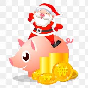 Santa Piggy Bank - Christmas Decoration Recreation Christmas Ornament Fictional Character Clip Art PNG
