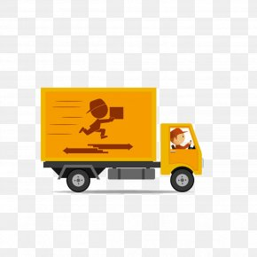 Cartoon Yellow Express Truck - Van Car Truck Delivery PNG