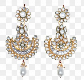 Indian Jewellery - Pearl Earring Jewellery Kundan Jewelry Design PNG