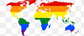 Multicolored Map - United States World Map LGBT Rainbow Flag PNG