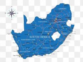 Blue South Africa Map - South Africa Second Boer War Map Clip Art PNG