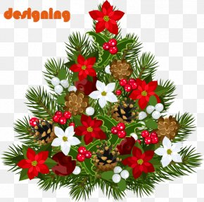 Flowers Decorate The Christmas Tree - Christmas Tree Santa Claus Christmas Decoration PNG