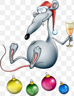 Hand-painted Mouse - Christmas New Year Santa Claus PNG