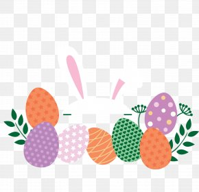 Vector Bunch Of Easter Eggs - Easter Bunny Easter Egg Easter Postcard PNG