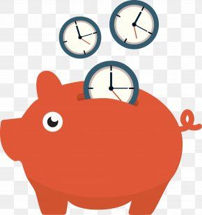 Time Savings - Piggy Bank Saving Time PNG