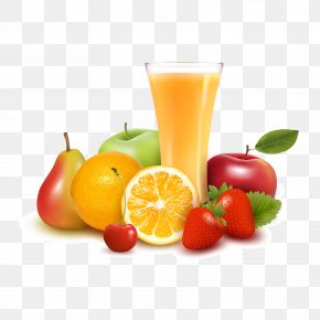 Fresh Fruit And Orange Juice Vector Material - Orange Juice Apple Juice Fruit PNG
