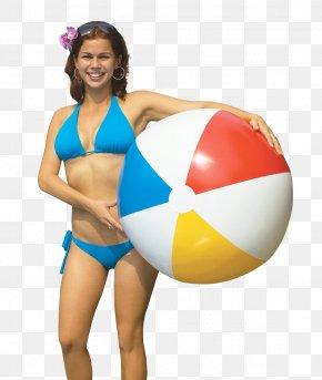 Woman Holding Beach Ball - Beach Woman PNG