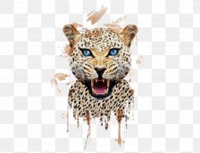 Hand-painted Cheetah - Tiger T-shirt Leopard Cheetah Printing PNG