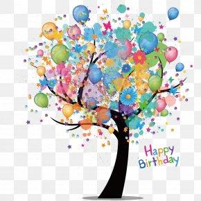 Cartoon Tree Watercolor Balloon - Birthday Cake Greeting Card Wish PNG