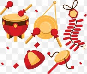 New Year's Day Fireworks Vector Cartoon Bone Tambourine - Drum Chinese New Year PNG