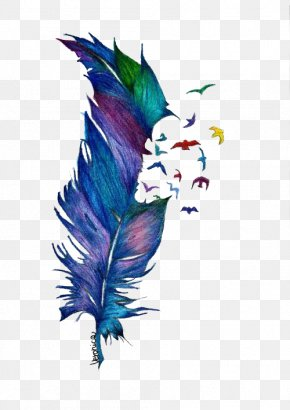 Falling Feathers - Bird Drawing Feather Watercolor Painting Tattoo PNG